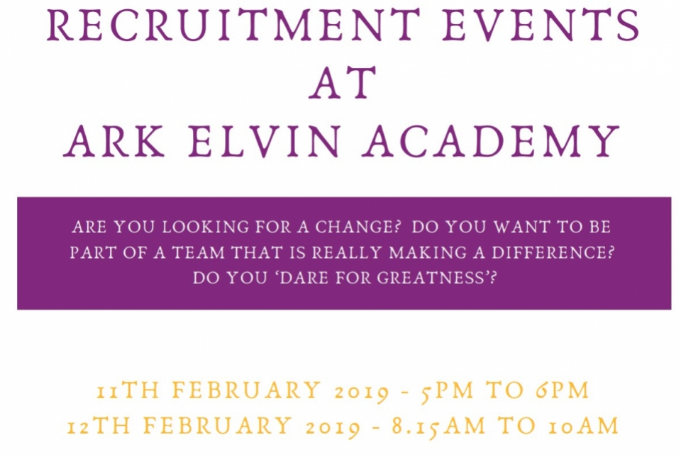 Recruitment Events - 11th and 12th February 2019 | ARK Elvin Academy